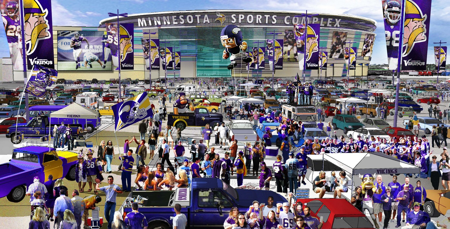 The Minnesota Vikings say a new Arden Hills stadium would allow for better tailgating before football games than if a stadium were built in downtown Minneapolis.