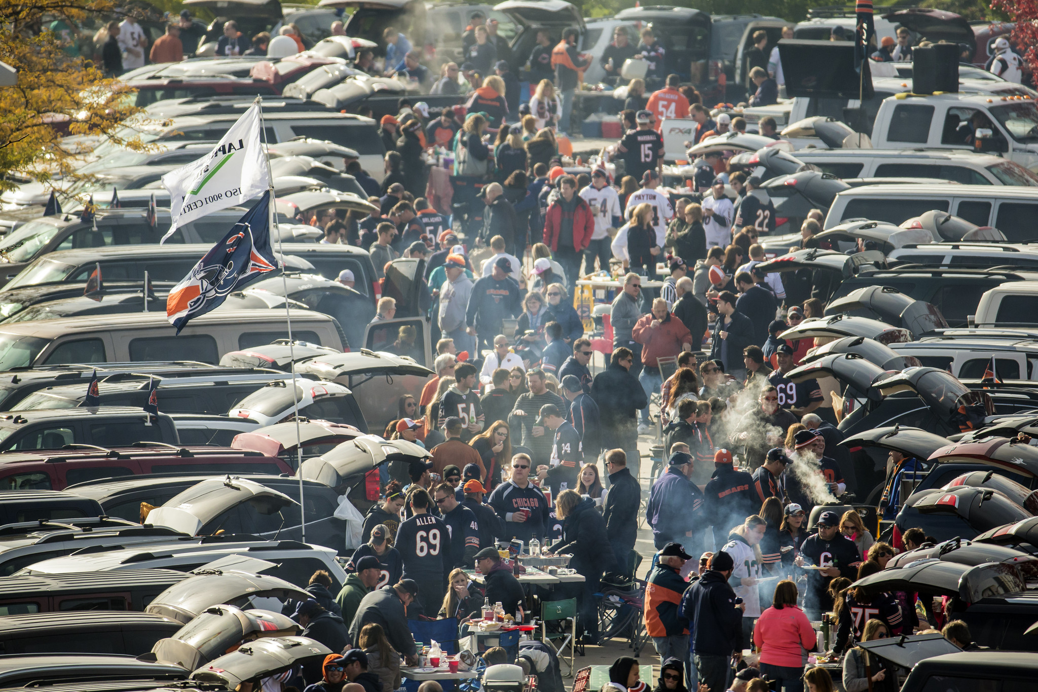 Fans tailgate in the Waldron Deck before the Chicago Bears faced the Miami Dolphins on Sunday, Oct. 19, 2014 at Soldier Field. (Brian Cassella/Chicago Tribune)