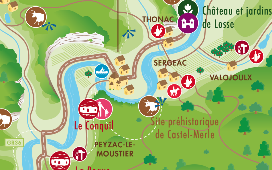 vallée de la vézère carte La carte de la vallée de la Vézère   deux degrés